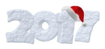 Texte de neige de 2017 bonnes années avec le chapeau rouge Photo libre de droits