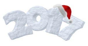Texte de neige de 2017 bonnes années et chapeau rouge Photo libre de droits