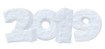 Texte de neige de la nouvelle année 2019 Illustration Stock