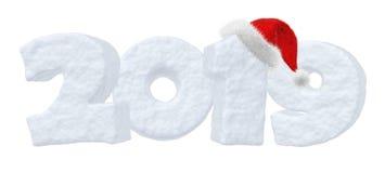 Texte de neige de la nouvelle année 2019 avec le chapeau de rouge de Santa Claus Illustration Libre de Droits