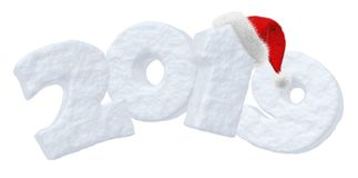 Texte 2019 de neige de nouvelle année avec le chapeau de rouge de Santa Claus Illustration Stock