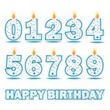 Texte de nombre de bougie d'anniversaire et de joyeux anniversaire photographie stock libre de droits