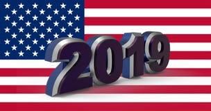 Texte 2019 de nouvelle année avec l'illustration du drapeau 3d des Etats-Unis illustration de vecteur