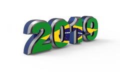 Texte 2019 de nouvelle année avec le drapeau du rendu du Brésil 3d illustration de vecteur