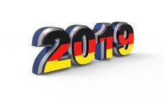 Texte 2019 de nouvelle année avec le rendu allemand du drapeau 3d illustration stock
