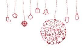 Texte de nouvelle année et jouets plats stylisés de Noël sur le backgroud blanc Illustration EPS10 de vecteur Photos stock