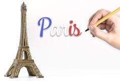 Texte de Paris d'écriture sur Tour Eiffel pour le voyage de Paris Images libres de droits