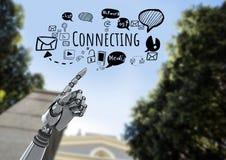Texte de pointage et se reliant de main d'Android avec les graphiques sociaux de dessins de media Photographie stock