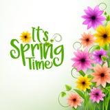 Texte de printemps de vecteur à l'arrière-plan blanc avec des fleurs illustration libre de droits