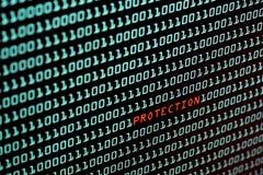 Texte de protection et concept de code binaire de l'écran de bureau, foyer sélectif photo stock