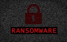 Texte de Ransomware avec la serrure rouge au-dessus du texte chiffré illustration de vecteur
