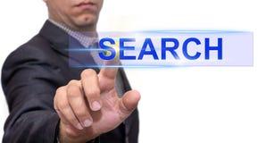 Texte de recherche avec l'homme d'affaires photo stock
