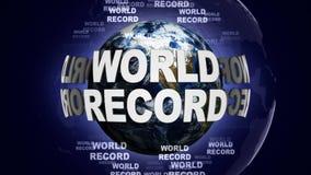 Texte de RECORD MONDIAL et terre, rendu, fond de graphiques Images stock