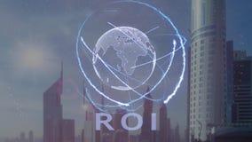 Texte de ROI avec l'hologramme 3d de la terre de planète contre le contexte de la métropole moderne illustration de vecteur