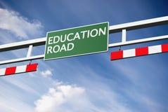 Texte de route d'éducation dans le panneau Images stock
