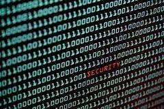 Texte de sécurité et concept de code binaire de l'écran de bureau, foyer sélectif photo stock