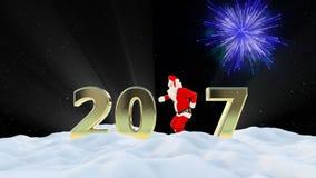 Texte de Santa Claus Dancing 2017, danse 4, paysage d'hiver et feux d'artifice banque de vidéos