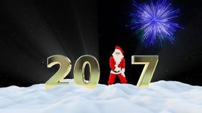 Texte de Santa Claus Dancing 2017, danse 8, paysage d'hiver et feux d'artifice banque de vidéos