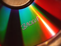 Texte de sauvegarde sur le CD Image stock