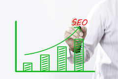 Texte de SEO avec la main du jeune point d'homme d'affaires sur le graphique virtuel Image stock
