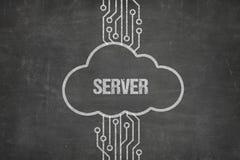 Texte de serveur sur le tableau noir avec le symbole de nuage photos libres de droits