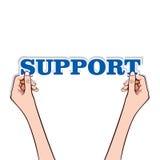 Texte de support avec la main Photographie stock libre de droits