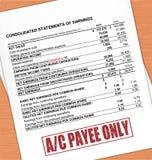 Texte de timbre de paiement de compte sur la déclaration et le Tableau de chêne Image stock