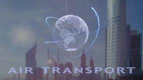 Texte de transport a?rien avec l'hologramme 3d de la terre de plan?te contre le contexte de la m?tropole moderne illustration libre de droits
