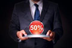 Texte de vente avec des affaires de tablette Photo libre de droits
