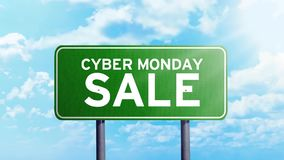 Texte de vente de lundi de Cyber sur le panneau routier banque de vidéos