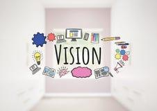 Texte de vision avec des graphiques de dessins Image stock