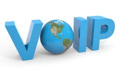 Texte de VOIP 3d. Globe de la terre substituant la lettre d'O. Images libres de droits