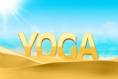 Texte de yoga sur la plage de sable Photographie stock