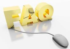Texte des FAQ 3D avec la souris d'ordinateur Photos libres de droits