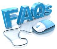 Texte des FAQ 3D avec la souris d'ordinateur Image stock