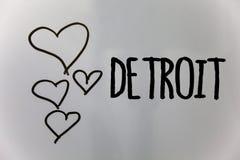 Texte Detroit d'écriture de Word Concept d'affaires pour la ville en capitale des Etats-Unis d'Amérique de backg de blanc de coeu photographie stock