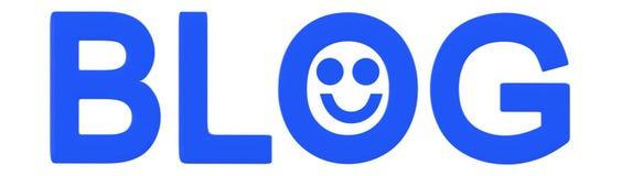 texte du blog 3d avec l'emoji souriant heureux illustration libre de droits
