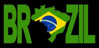 Texte du Brésil avec la carte Photographie stock libre de droits
