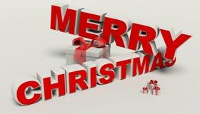 Texte du Joyeux Noël 3d, haute résolution de cadeau Photo libre de droits