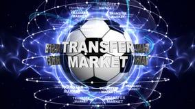 Texte du MARCHÉ de TRANSFERT et ballon de football, rendu, fond de graphiques Image libre de droits