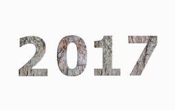 Texte en bois 2017 avec l'ombre Photographie stock