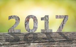 Texte en bois 2017 avec l'ombre Image libre de droits