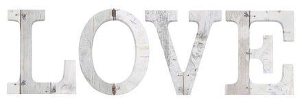 Texte en bois d'amour d'isolement sur le blanc Images stock