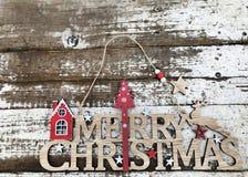 Texte en bois de Joyeux Noël Photos libres de droits