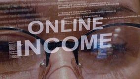 Texte en ligne de revenu sur le fond du promoteur femelle banque de vidéos