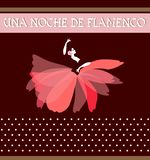 Texte espagnol de nuit de flamenco Silhouettez de danser la femme espagnole, habillé dans une jupe sous forme de fleur rouge cru illustration de vecteur