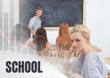 Texte et étudiants d'école dans la classe Photo stock