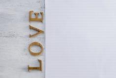 Texte et bloc-notes d'amour Images libres de droits