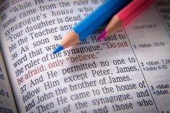 Texte et crayons de bible images stock