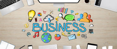 Texte et icônes d'affaires sur le fond de bureau Images libres de droits